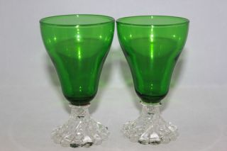 VINTAGE ANCHOR HOCKING FOREST GREEN BOOPIE 2 GLASSES BUBBLE FOOT WINE