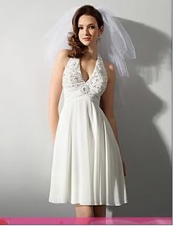 Bridal Gown Sexy V Neck Beaded Little White Dress Bridesmaid