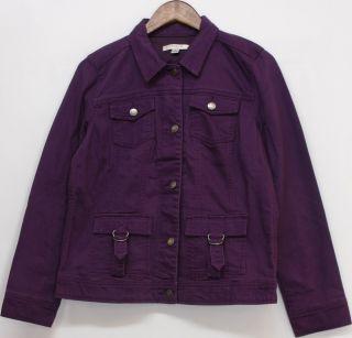 Liz Claiborne New York Sz s Jean Jacket w Chest Pocket Amethyst New