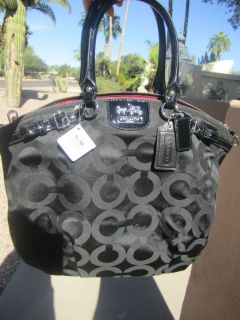 New Coach Madison Lindsey Black and Silver Gorgeous Handbag with Tags