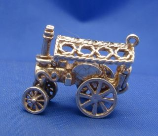 Vintage English Sterling Silver Steam Traction Engine Charm Moves