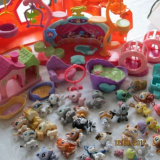 Littlest Pet Shop HUGE LOT of OLD 53 pcs Dogs Cats Monkeys Gecko Birds