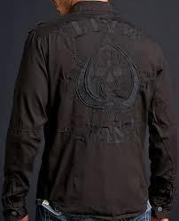 NWT MENS AFFLICTION BLACK PREMIUM STORM RISING LONG SLEEVE SHIRT 2XL