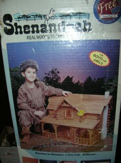 MISB SHENANDOAH LOG CABIN DOLL HOUSE KIT w/ Stone Chimney,Working Door