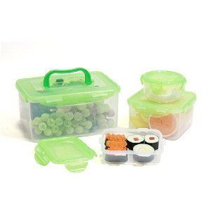 Lock Lock BPA Free 8 PC Picnic Lunch Box Food Storage Containers Green