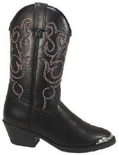 Kids Black Western Faux Leather Cowboy Boots