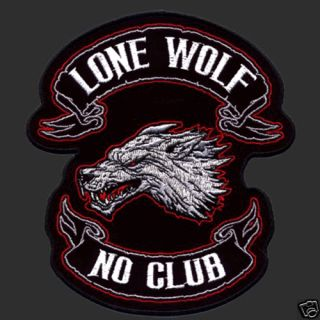 Lone Wolf No Club Biker Patch XXL Biker Patch