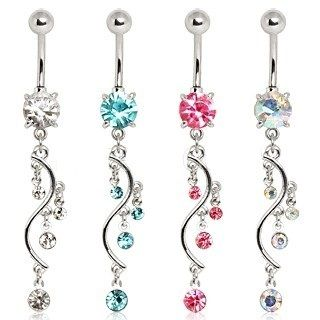 Navel Belly Button Ring Four Tier CZ Vine Dangle Piercing