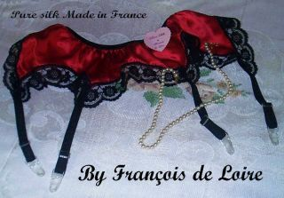 SATIN RED Suspender Garter Belt BLACK LACE MEDIUM Francois de Loire
