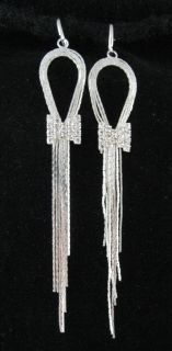 Fab Long Prom Party Diamante Bow Clip on Hoop Earrings