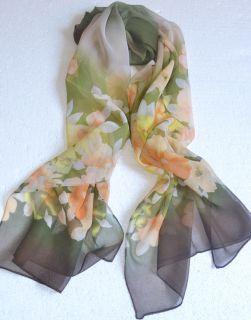 New Ladys Girl Scarf Long Green Flowers Chiffon Shawl Wrap 20X60