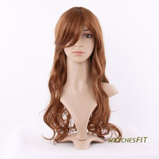 Girls Golden Brown Long Wavy Curly Synthetic Hair Bangs Wigs
