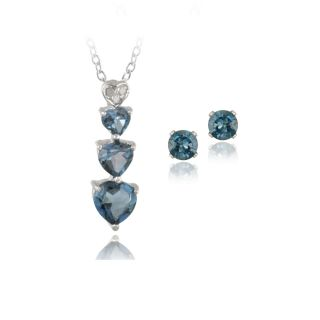 925 Silver London Blue Topaz Diamond Heart Necklace Earrings Set