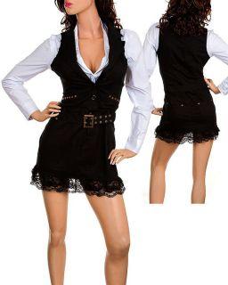 Womens Lace Bottom Long Sleeve Mini Dress Tunic s M