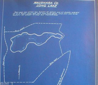 Vintage Wisconsin Fishing Map Waushara County Long Lake