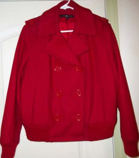 Todd Smith aka ll Cool J Designer Red Wool Blend Peacoat Jacket XL
