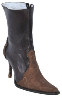 Los Altos Fashion Design Leather Brown Handmade Womens Cowboy Boots