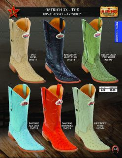 Los Altos 3X Toe Genuine Ostrich Mens Western Cowboy Boots Diff