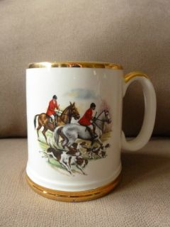 Lord Nelson Pottery England Equestrian Mug Stein Horses Hounds