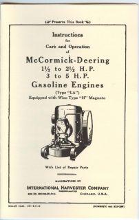 IHC McCormick Deering La Gas Engine Manual International Harvester