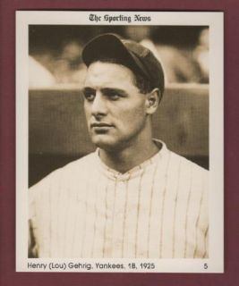 LOU GEHRIG 1925 Yankees SPORTING NEWS 1981 Conlon Collection limited