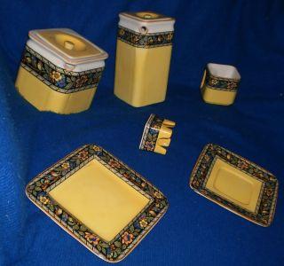 Vintage English Cube Tea Pot Hall Pottery Breakfast Set Antique Train