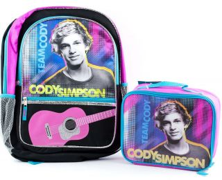 Cody Simpson School Backpack Lunch Box Book Bag Tote Kit Girls Kids