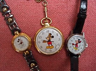 Three Mickey Mouse Watches Lorus Pocket Watch Bradley Time 112s Japan