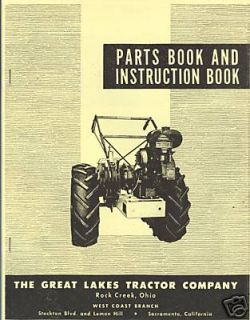 Great Lakes Chief Garden Tractor Manual 1946 1954 Instruction & Parts