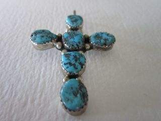 Vintage Native American Sterling Silver Turquoise Cross Artist Signed
