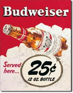 Tin Sign Vintage Advertising 25 cents Budweiser Beer Anheuser Busch