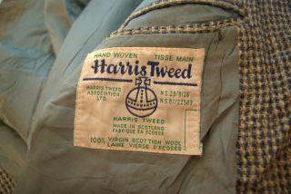 Mens Vintage 1970s 1980s Harris Tweed Wool Blazer Jacket Grey Navy