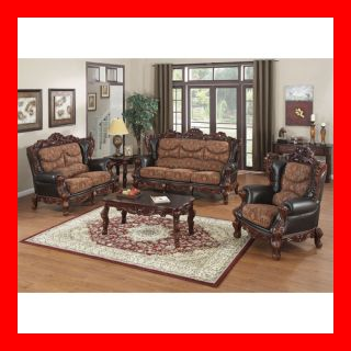 Traditional Formal Leather Fabric Sofa Loveseat 2 PC Living Room Set