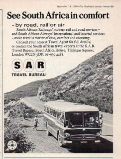 South African Railway SAR Travel Bureau Airway Bus Travel Print Ad