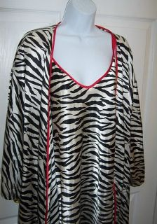Size 1x Long Robe Zebra Animal Print Lounge Sleepware Luxurious