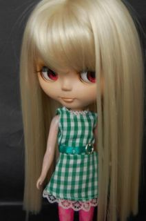 Blonde Straight Long Hair Wig Bangs for 12 Blythe Doll