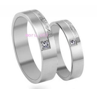 Korean Fashion Endless Love Engraved w Gem Couple Rings