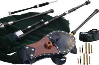 Lowland Small Pipes African Blackwood Bagpipe Bellows Blown in The Key