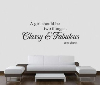 CLASSY FABULOUS coco chanel Wall Decal Lettering Quote Stencil Sticker