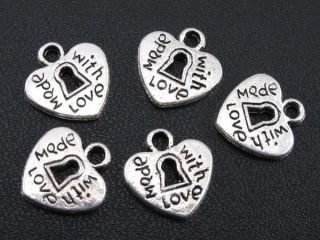 12 x Tibetan Silver made with love Heart Charms Pendants Jewelry