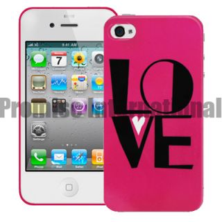 Hot Pink Love Hard Back Case Cover for Apple iPhone 4 4G 4S