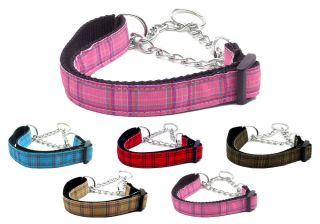 Plaid Nylon Martingale Chain Limited Slip Loop Pet Dog Collar
