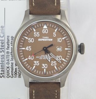 T49874 Timex Expedition INDIGLO Light Stainless Steel Case Brown