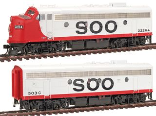 F7A B Soo Line Red White Loco Consist w DCC Sound HO Scale