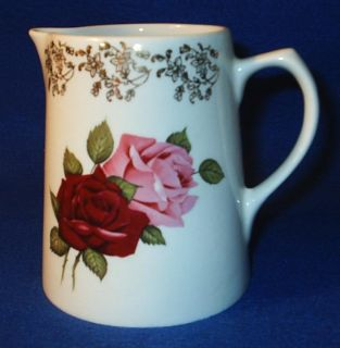 Lord Nelson Pottery Pitcher Red Pink Roses Gold Accents
