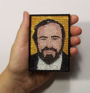 Luciano Pavarotti Glass Micro Mosaic Art Portrait ACEO Cards