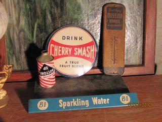 Original 1957 B 1 Sparkling Water Soda Door Push Rack Sign