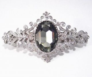 Loyal Black Austrian Rhinestone Hair Clip Barrette
