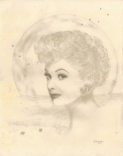 11 x 14 Original Lucille Ball Portrait Sketch I Love Lucy