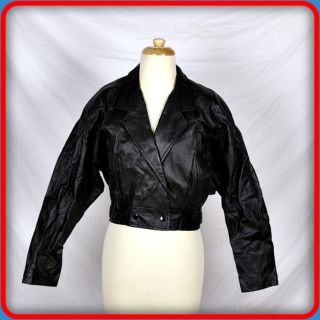 LUIS ALVEAR Vtg CROPPED Soft Leather JACKET Blazer Womens Size M